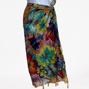 Accessories - FLORAL SARONG WRAP WITH TASSELS OVERSIZED SCARF